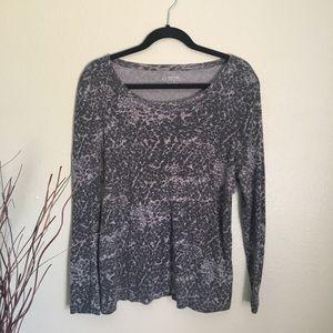 Daisy Fuentes Animal Print Long Sleeve T-Shirt-XL